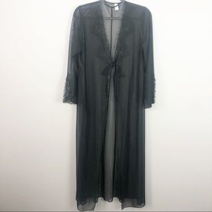 Frederick's of Hollywood | Black Sheer & Lace Robe
